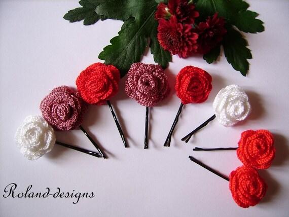 Crochet Rose Hair Pins