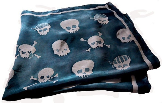 hand painted silk skull scarf - extra large square - navy blue