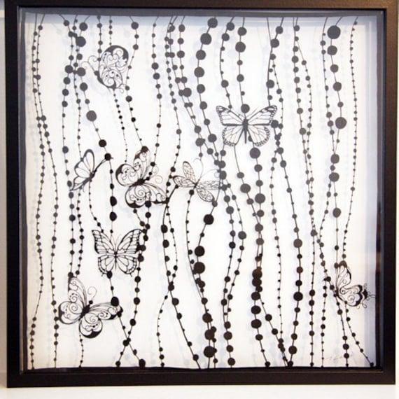 Papercuts-cutouts-handcuts-Butterflies rain