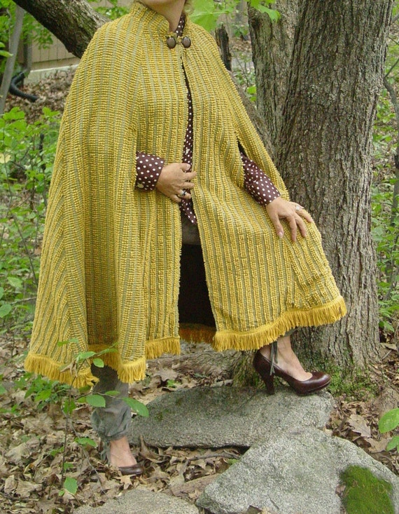 Handmade OOAK cape made from vintage  harvest gold and silver thread chenille bedspread