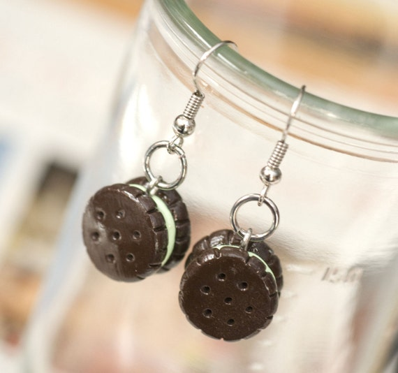 CLEARANCE SALE Roscata Mint Oreo Cookies Earrings Handmade Polymer Clay Food Jewelry