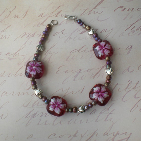 Hearts and Flowers bracelet - Rose Pink