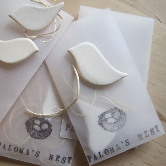 set of 6 tiny dove tokens- individually wrapped wedding, party favors or gifts - by Paloma's Nest