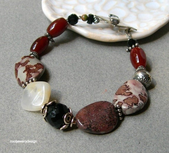 red apache jasper agate and opal bracelet  by cooljewelrydesign from etsy.com