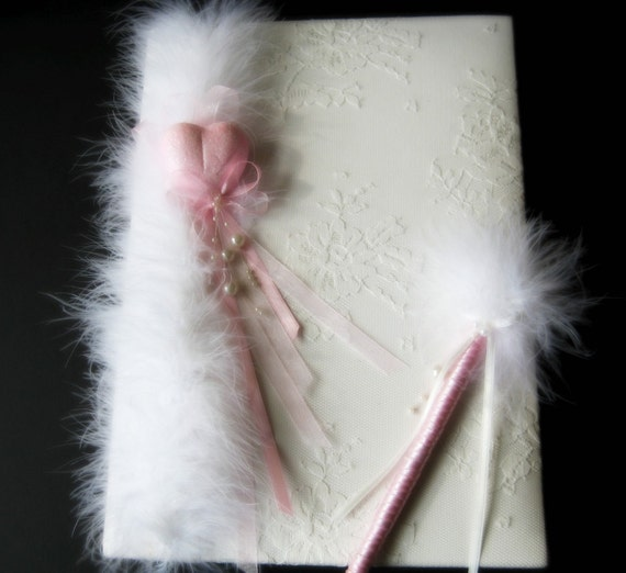Pink Love Memory Book and Wedding Pen Set by HandCreativity from etsy.com