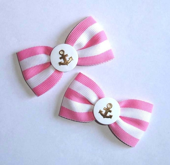 Pink Candy Striped Hair Bows with Anchors