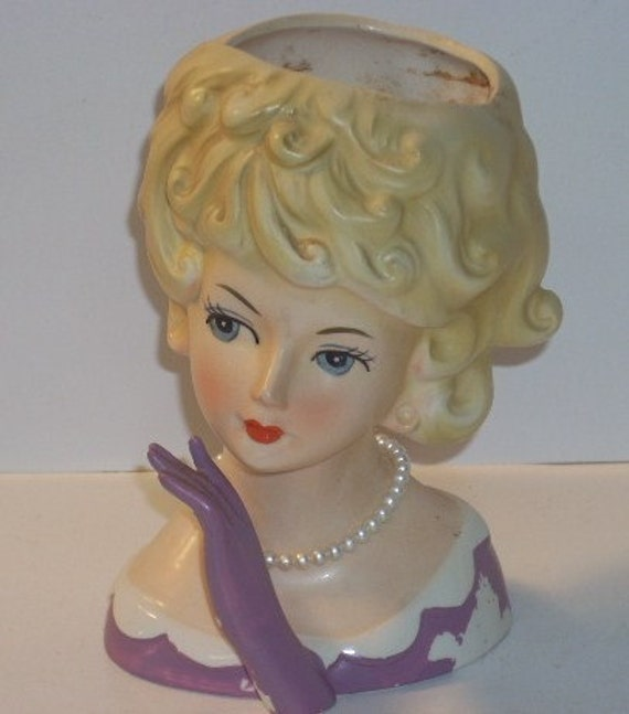Lefton Blonde Lady Head Vase Headvase Pearl Necklace Purple Glove
