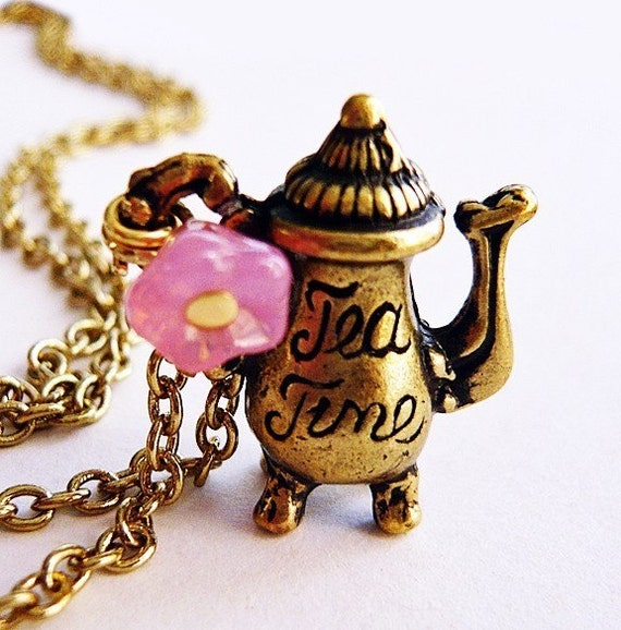 Vintage Teapot Pink Flower Charm Necklace by MaruMaru on Etsy from etsy.com