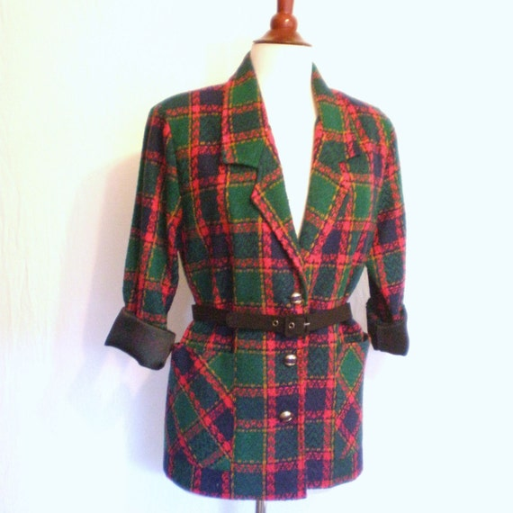 80s RED PLAID Tartan Jacket, medium or large
