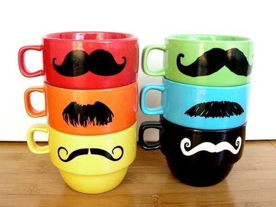 Upcycled Modern Stacking Mustache Mugs With Holder