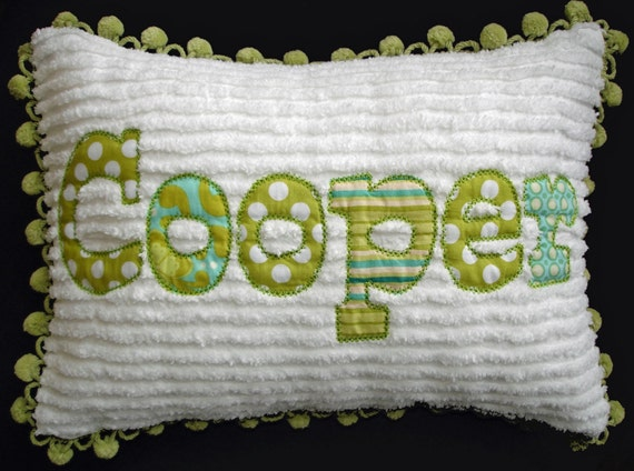 Chenille or Minky Name Pillow  Made to Match  Bedding