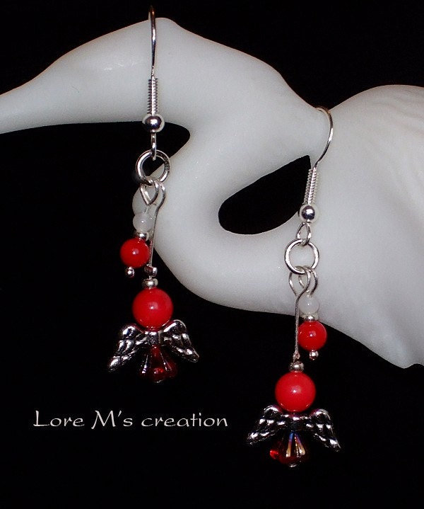 boucles d'oreilles corail anges, angel earrings, Lore M