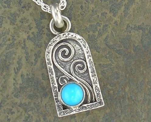 Tiny Arch Pendant Sleeping Beauty Turquoise & Sterling Silver  :  necklace design jewelry jewellery