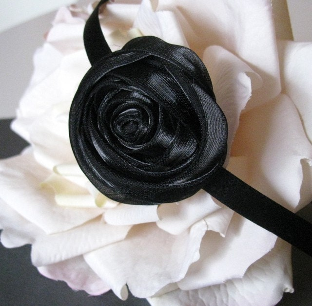 ESME - Coiled Black Rose Satin Headband