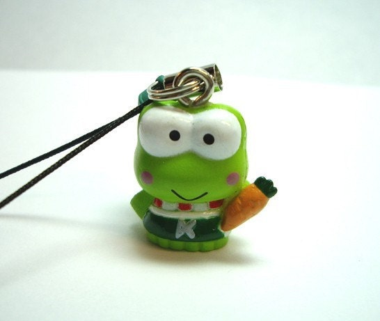 Hello Kitty Keroppi Frog Cell Phone Charm - Black Strap with Green Bell
