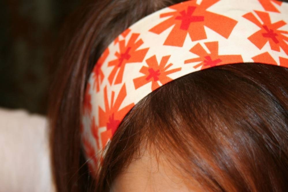 Orange Red White Geometric Flower NO SLIP headband