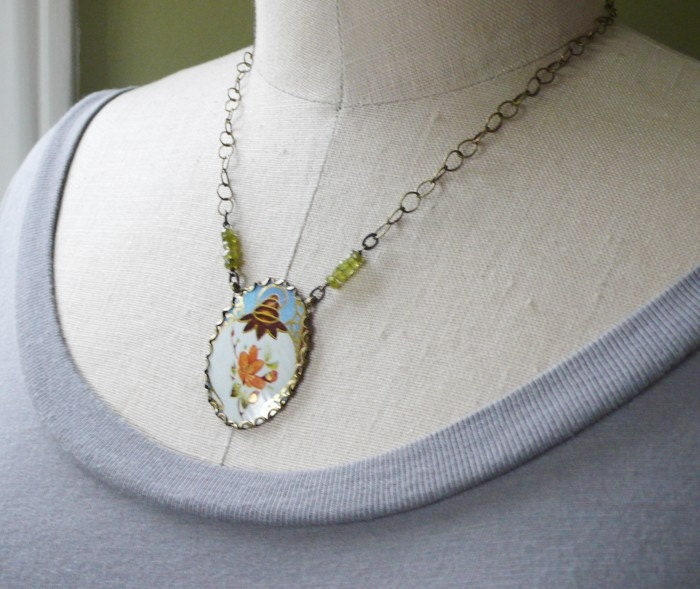 recycled tin and brass necklace - orange blossom
