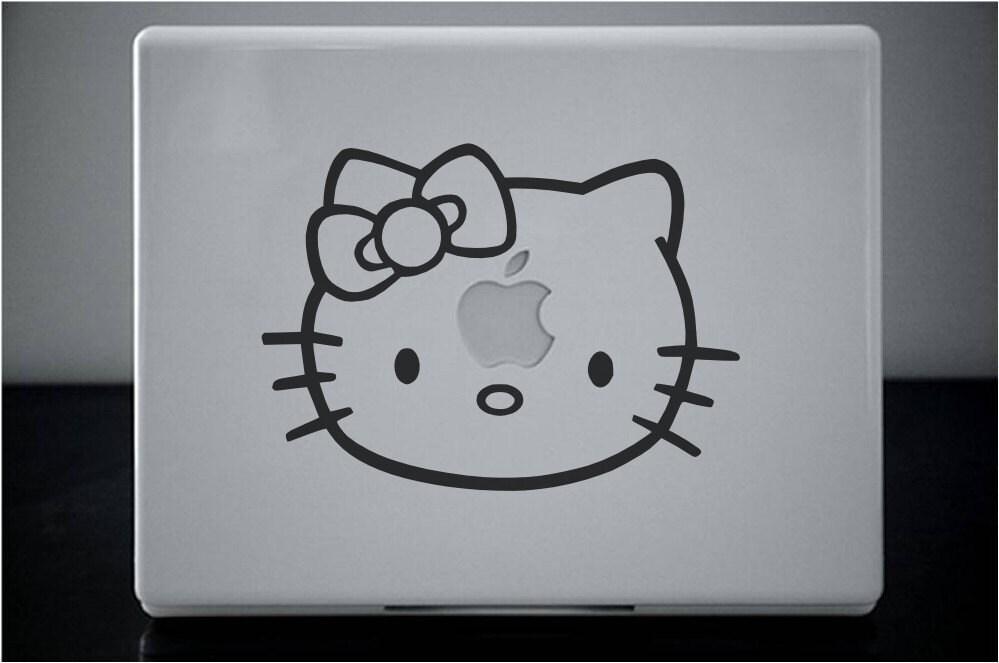 Kitty Hello MacBook Pro Laptop MacJac, vinyl sticker decal by Lana Kole