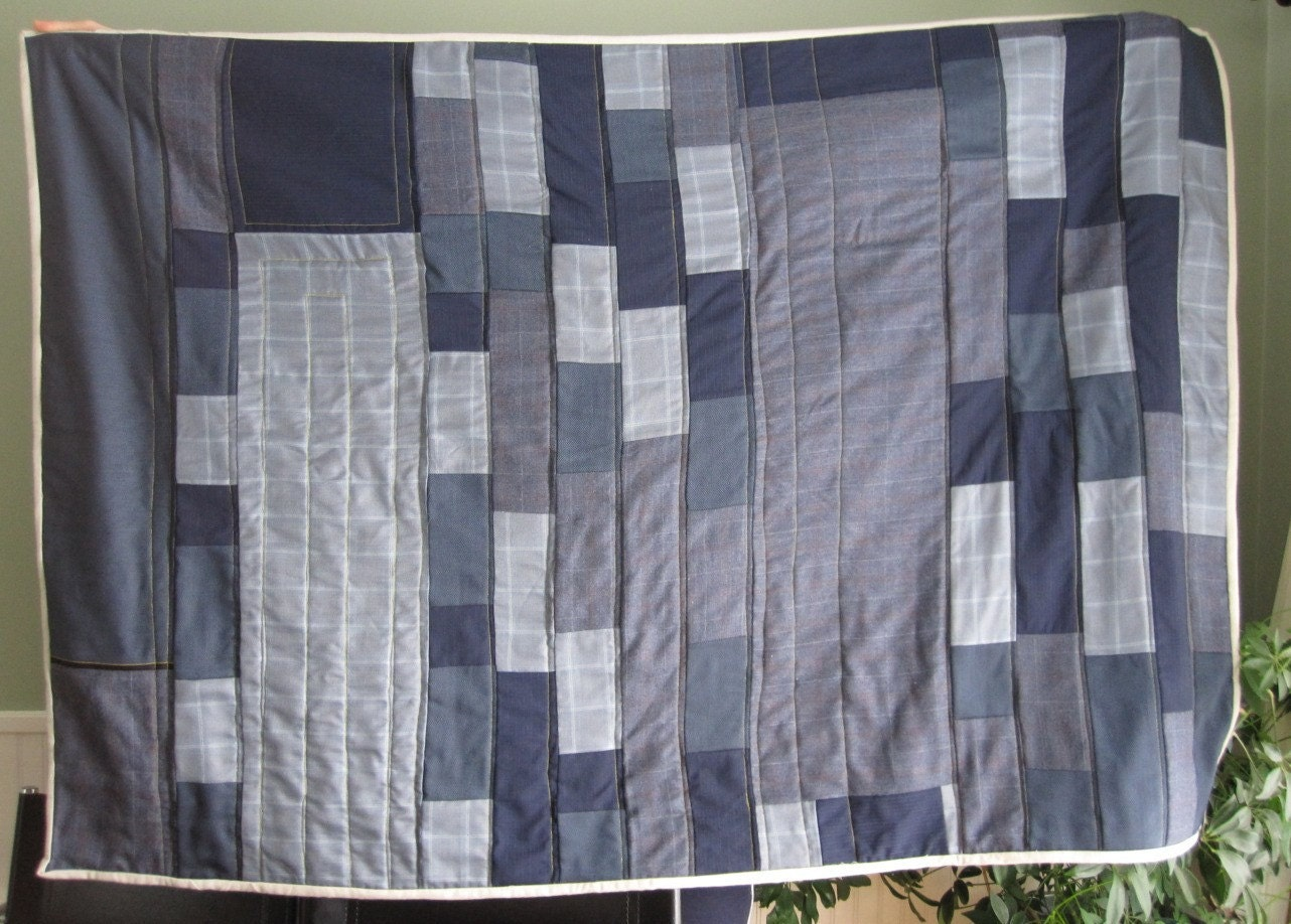 Blue Handmade Quilt with Mustard Yellow Back