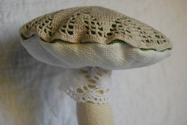 Linen, lace and silk mushroom