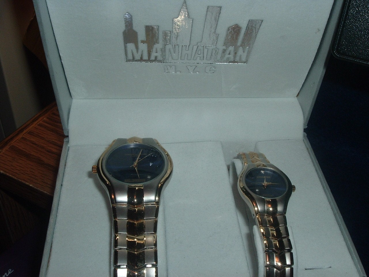 HIS AND HERS MANHATTAN QUARTZ WRISTWATCHES NEW SHARP DIAL