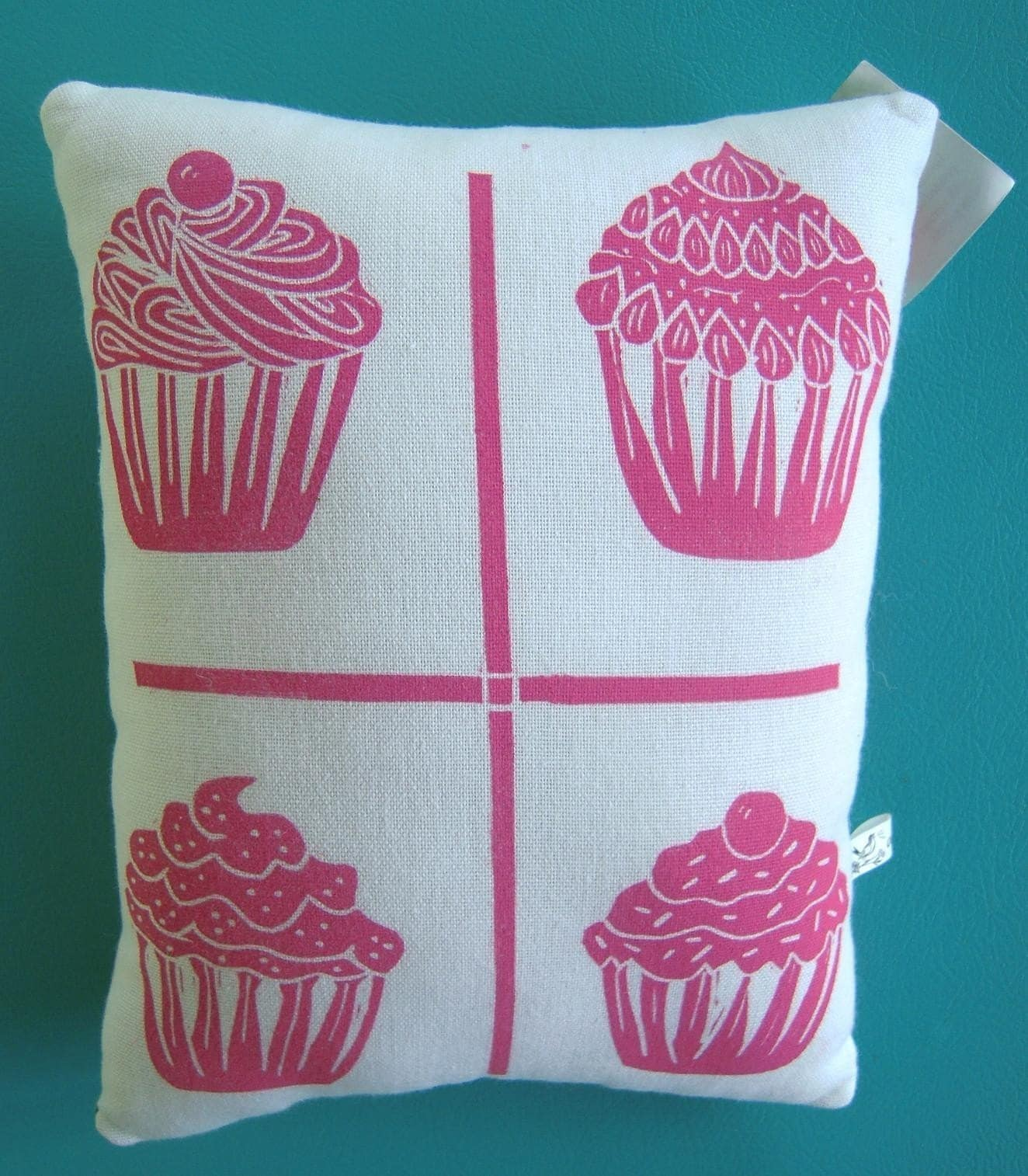 NEW block print mini cupcake accent pillow