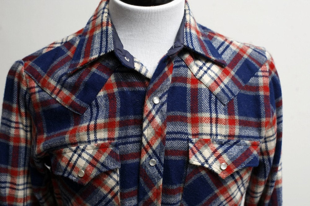 Upcycled Vintage Blue Plaid Men's Small Shirt with Screen Printed Anchor