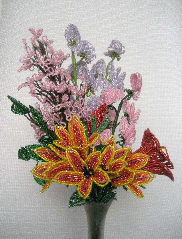 Фото цветов из бисера и стекляруса