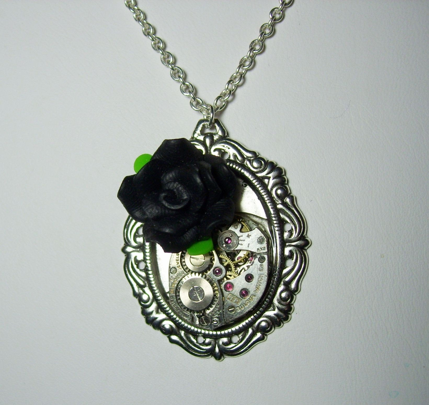 Antique Silver Vintage 17 Jewel Bulova Watch Movement Black Fimo Clay Rose  Gothic Lolita Steampunk Pendant Necklace new