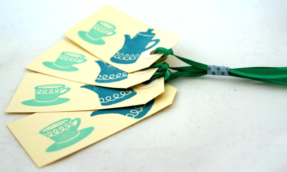 TEA TIME - Set of 4 Hand-Stamped Gift Tags