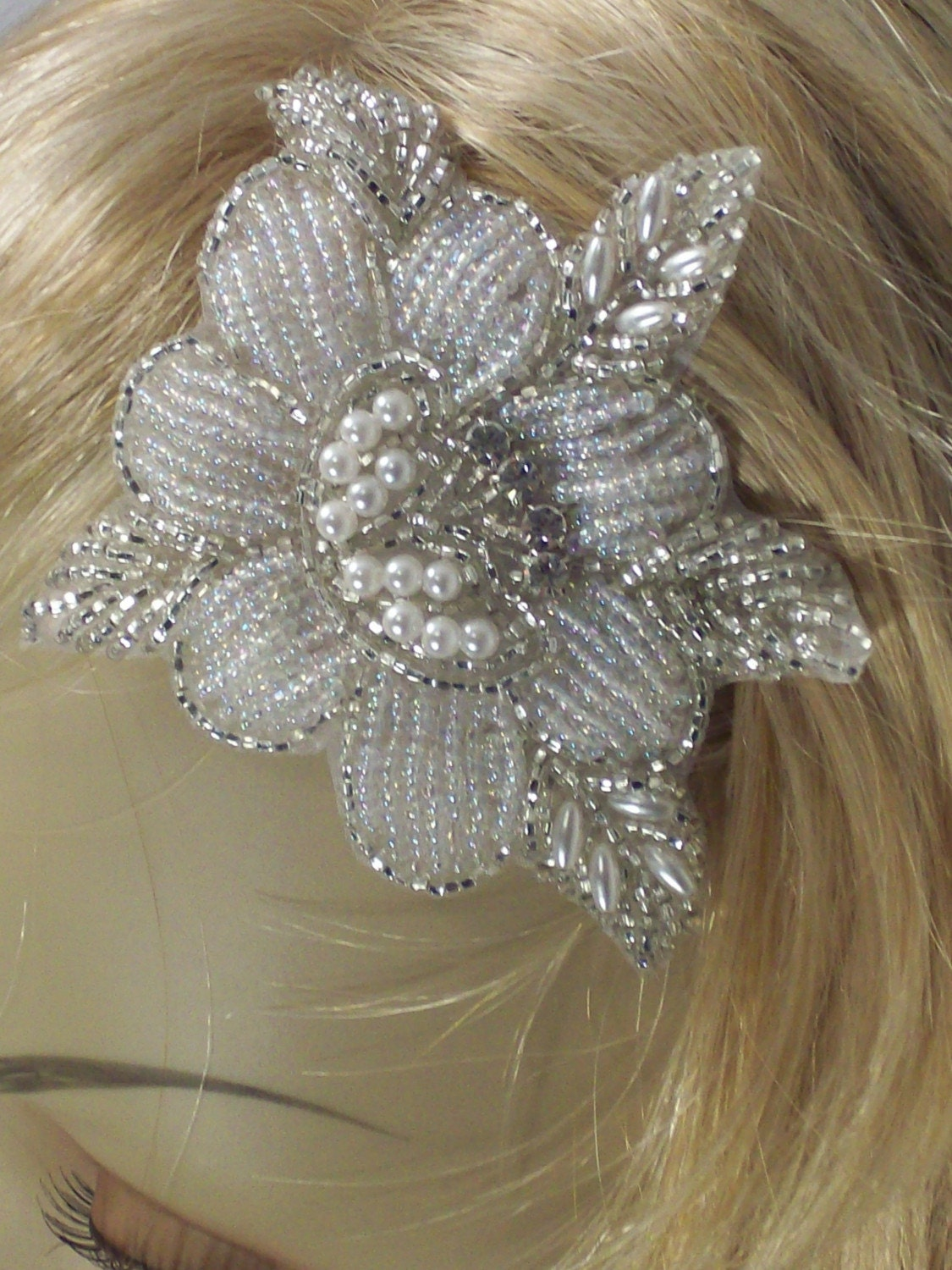 Vintage Silver and White Flower Applique with Swarovski Crystals - On Hair Comb - LAST ONE LADIES