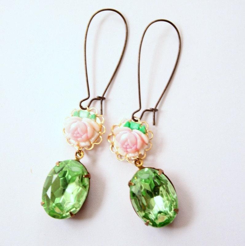NEW Long Green Rose Earrings