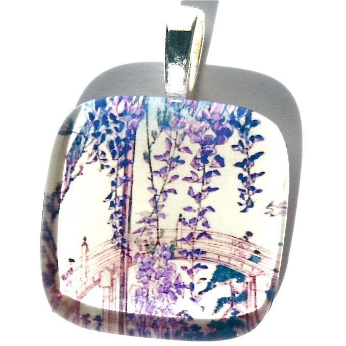 Glass Tile Pendant Violet Wisteria Blossoms Curved Bridge In Background Asian Painting