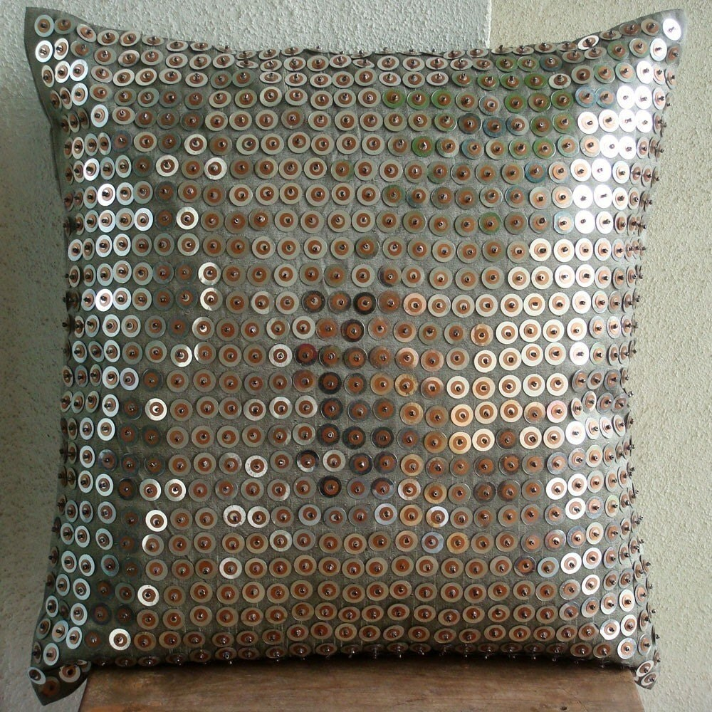 Exotic Lounge - 16 Inches Square Pillow Cover in Silk Dupion with Sequins