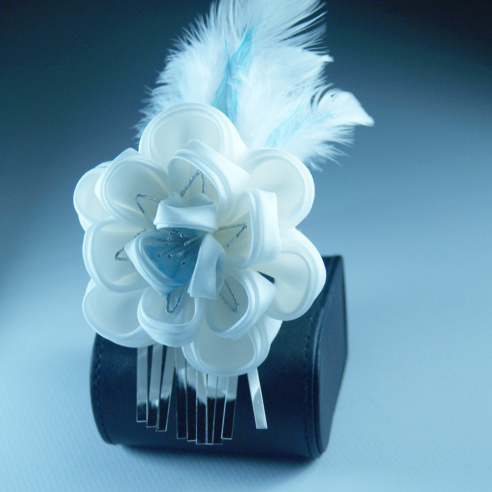 ice flare tsunami kanzashi fabric flower hairpin