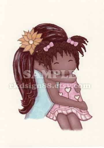rkdsign88.blogspot.com etsy hug African mother daughter cute children painting fun illustration nursery drawing art print cute whimsical reproduction music bird