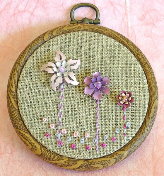 Pink Flowers Wall Hanging by OneLittleHouse