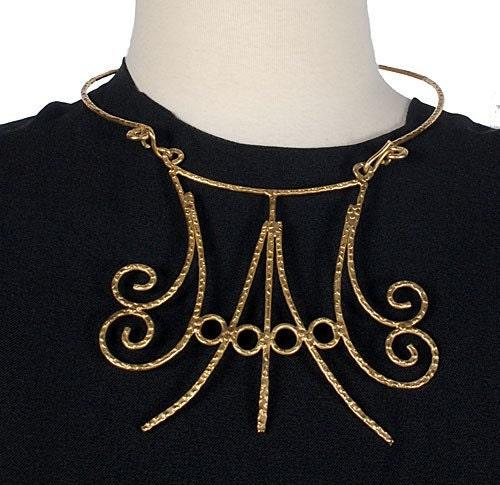 70s Organic Hammered Metal Choker Bib Necklace