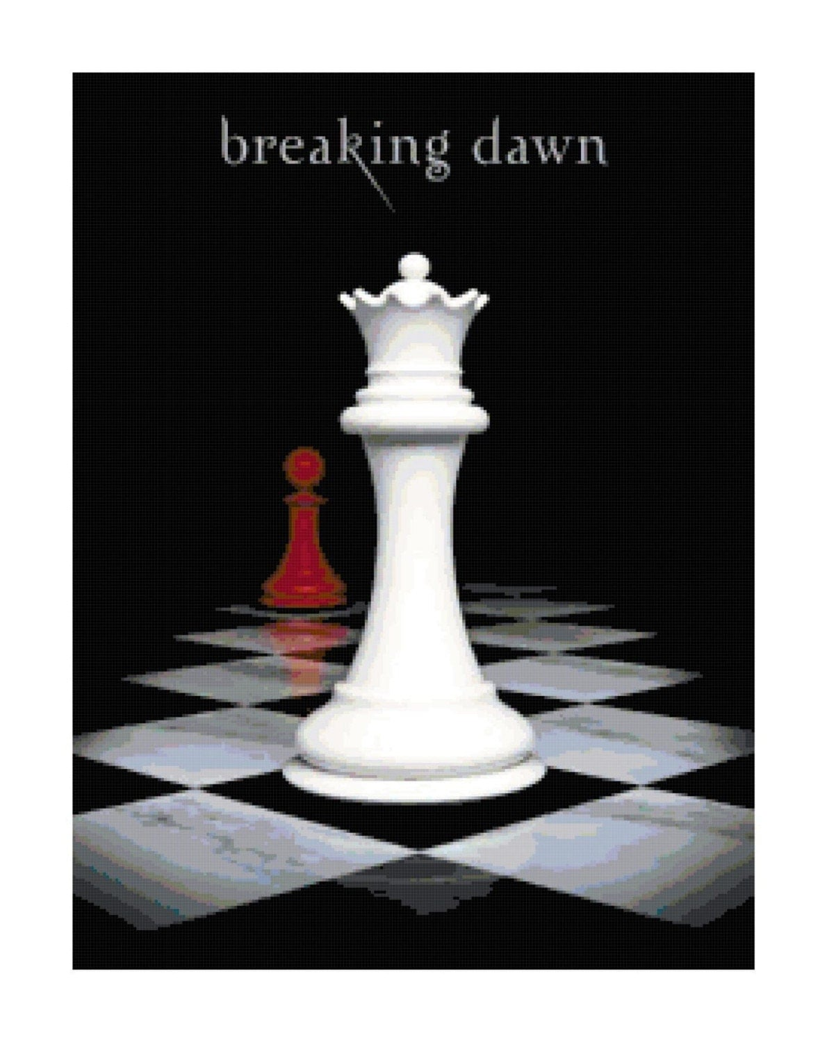 Breaking Dawn Book Cover Drawing : Twilight s breaking dawn book cover crossstitch pattern