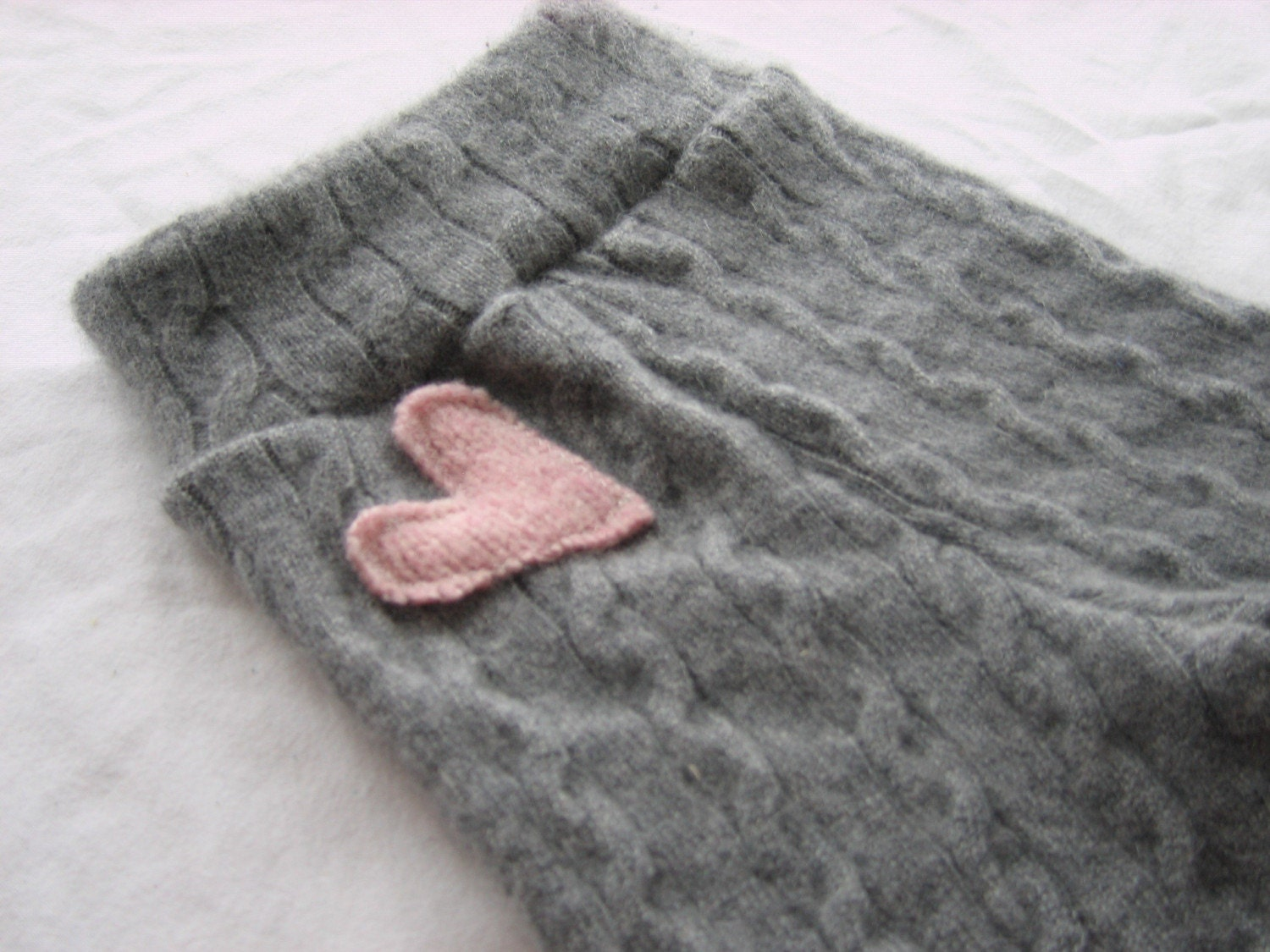 Recycled Wool Soft Gray Cashmere Sweetheart Longies- Small