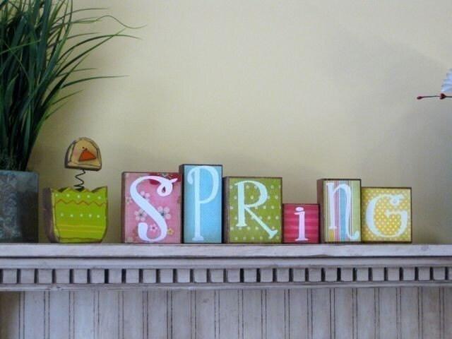 Spring Blocks Decoupage Chick or Flower Spring Decor Egg