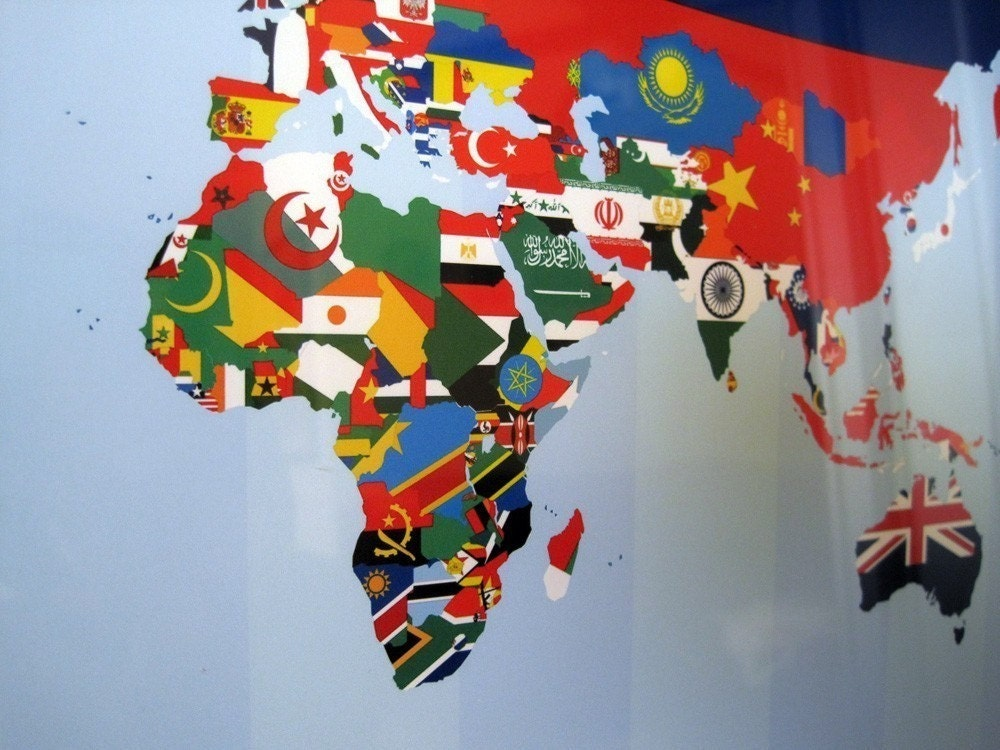 World flag map poster more information it is handmade in maktub by world flag map poster sciox Image collections