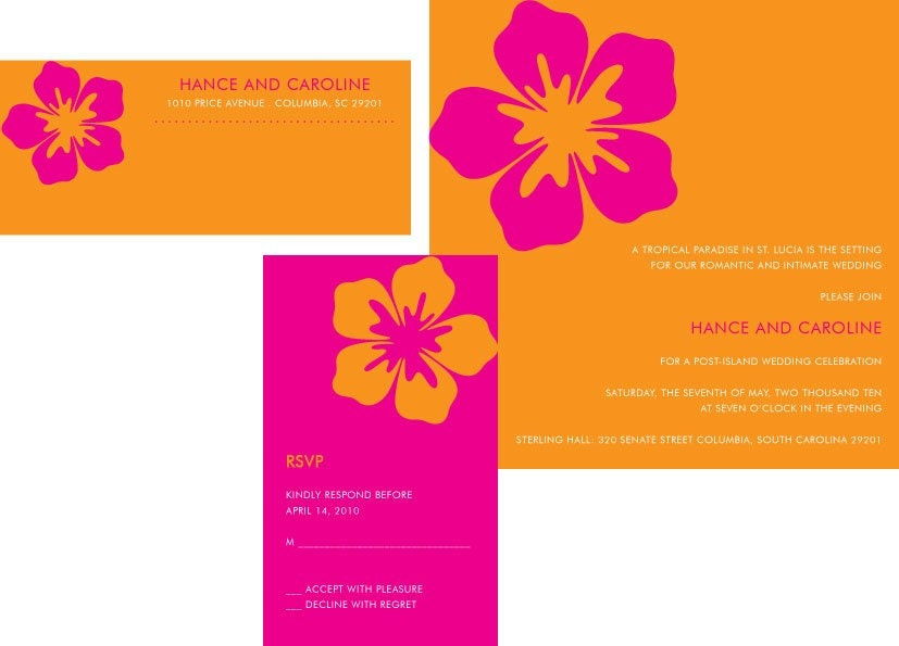 Pink and Orange Hibiscus Floral Wedding Invitation Set Invitation Envelope
