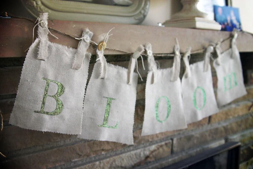 Bloom burlap banner