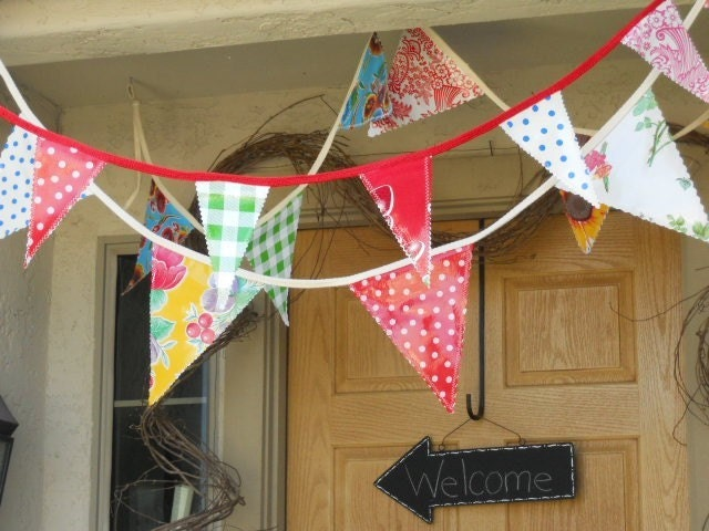 <br />Life's a Picnic - Oilcloth Pennant Garland<br />