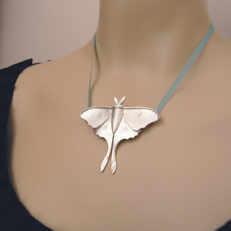 Luna Moth Jewelry Pendant in fine silver