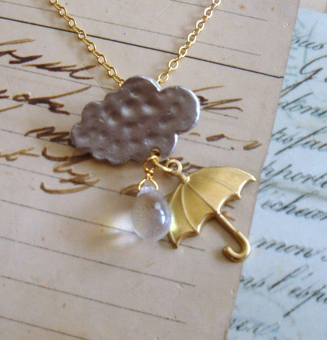 Rain Cloud with Umbrella Necklace. FREE WORLDWIDE SHIPPING.