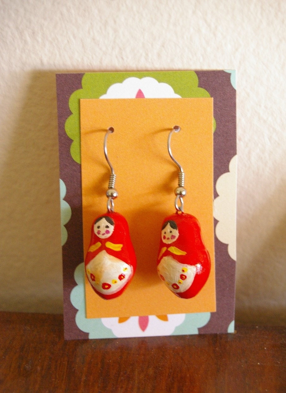 Red Babushka Earrings
