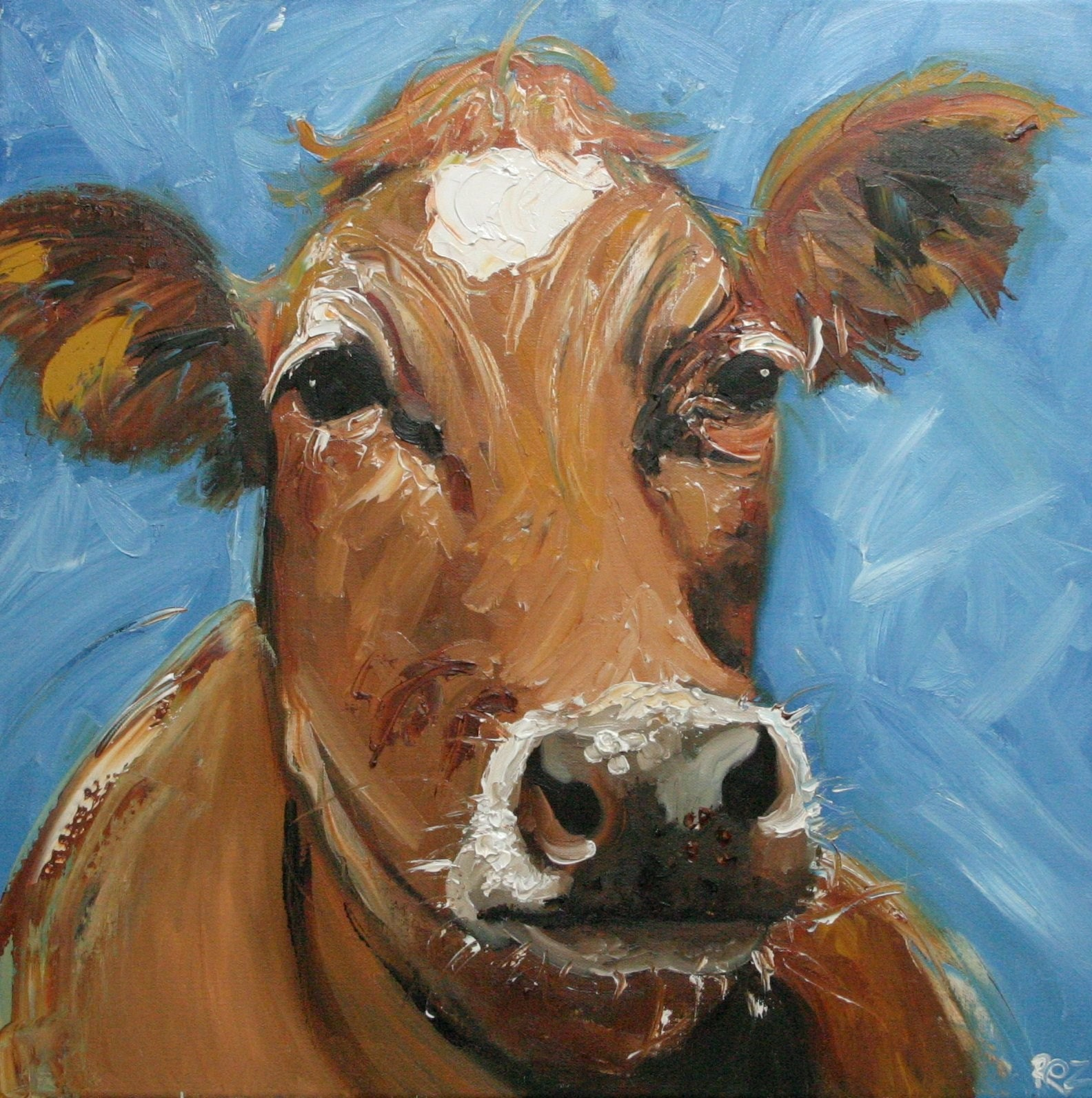 Cow 244 20x20 inch original oil painting by Roz