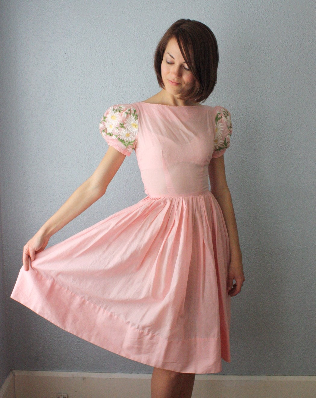 vintage 1950's pink party dress